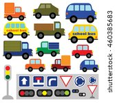 vector set of funny transport.... | Shutterstock .eps vector #460385683