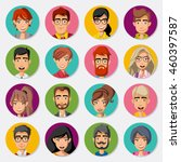 faces of cartoon business... | Shutterstock .eps vector #460397587