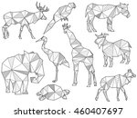 vector set of origami animal... | Shutterstock .eps vector #460407697