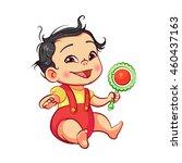 asian little baby boy sitting... | Shutterstock .eps vector #460437163
