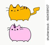 Stock vector cat on a white background cartoon cat cat face cat icon cat logo cat art cat print cat 460458937