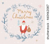 christmas card with cute santa... | Shutterstock .eps vector #460462087