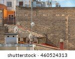brick wall without windows with ... | Shutterstock . vector #460524313