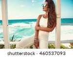 sexy young woman in white... | Shutterstock . vector #460537093