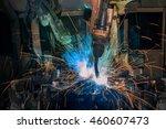 team robots are welding auto... | Shutterstock . vector #460607473