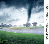 Small photo of conceptual storm image of approaching tornado.