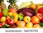 fresh vegetables  fruits and... | Shutterstock . vector #46076755