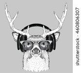 portrait of deer with glasses...   Shutterstock .eps vector #460806307