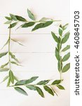 frame of green branches with... | Shutterstock . vector #460845703