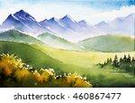watercolor autumn mountains    Shutterstock . vector #460867477