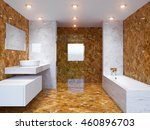 3d rendering modern bathroom in ... | Shutterstock . vector #460896703