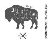 vintage butcher cuts of bison... | Shutterstock .eps vector #460903153