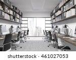 new york office interior. city... | Shutterstock . vector #461027053
