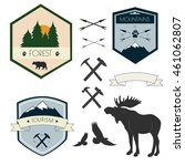 vector set of camping labels in ... | Shutterstock .eps vector #461062807