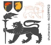 black lion with a torch... | Shutterstock .eps vector #461099923