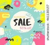 summer sale banner. hand drawn... | Shutterstock .eps vector #461130157