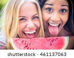 two pretty girlfriends eating a ... | Shutterstock . vector #461137063
