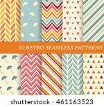 ten retro different seamless... | Shutterstock .eps vector #461163523
