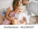 happy father pretty mother and... | Shutterstock . vector #461180107