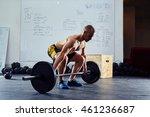 young man doing power snatch... | Shutterstock . vector #461236687
