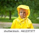 little boy under rain with a... | Shutterstock . vector #461237377