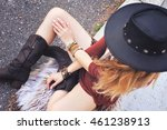 fashion woman dressed in boho... | Shutterstock . vector #461238913