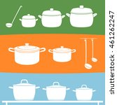 pans and pots on green  yellow  ... | Shutterstock .eps vector #461262247