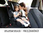 mother and child in car. safety ... | Shutterstock . vector #461266063