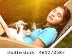 teen pretty girl sleeping in... | Shutterstock . vector #461273587