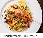 seafood pasta spaghetti with... | Shutterstock . vector #461296027