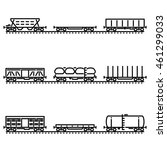 set of rail car flat line icons | Shutterstock .eps vector #461299033