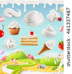 whipped cream  cake and candy ... | Shutterstock .eps vector #461337487