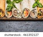 various of tasty tortilla wraps ...   Shutterstock . vector #461352127