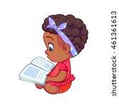 sweet african baby girl sitting ... | Shutterstock .eps vector #461361613