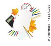 back to school  school supplies.... | Shutterstock .eps vector #461371393