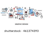 modern flat thin line design... | Shutterstock .eps vector #461374393
