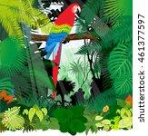 vector parrot  in jungle... | Shutterstock .eps vector #461377597