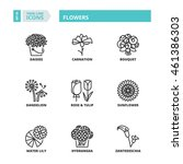 flat symbols about flowers.... | Shutterstock .eps vector #461386303