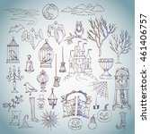 Stock photo halloween set of hand drawn elements can be used for backgrounds and cards of halloween 461406757