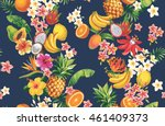 hawaiian seamless pattern with... | Shutterstock .eps vector #461409373