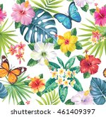 tropical seamless pattern with... | Shutterstock .eps vector #461409397