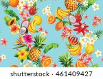 hawaiian seamless pattern with... | Shutterstock .eps vector #461409427