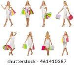 woman with shopping bags... | Shutterstock . vector #461410387
