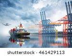 container cargo ship and cargo... | Shutterstock . vector #461429113