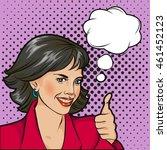 bobble pop art woman face with ... | Shutterstock .eps vector #461452123