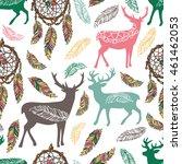 deer  dreamcatcher and feathers.... | Shutterstock .eps vector #461462053