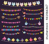 colorful flags and garlands set ... | Shutterstock .eps vector #461466367