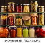 jars with variety of pickled... | Shutterstock . vector #461485243