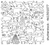 doodle forest animals and... | Shutterstock .eps vector #461501077