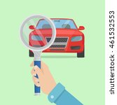 magnifying glass with red car.... | Shutterstock .eps vector #461532553